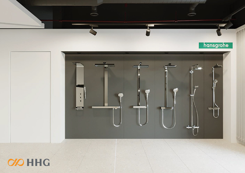 showroom trưng bày tay sen tắm